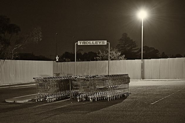 Car park and trolleys at night
