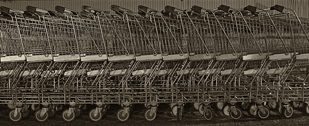 Resting trolleys at night