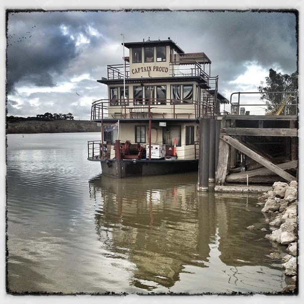 The Captain Proud paddle steamer moored at the wharf