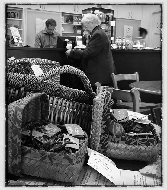Customer in the coffee and gift shop