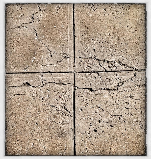 Cracked concrete footpath