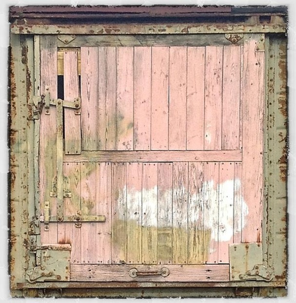 Wooden door to old railway van