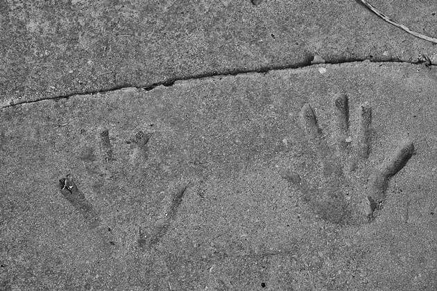 Hand prints in concrete outside the Lilliur Post Office 2014